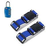 Okaytec Set 3 Accessoires Bagage Voyage - 2 Sangles Réglables & Cadenas Valise - Set de Sécurité Voyage et Code à Combinaison Approuvé par TSA (Bleu)