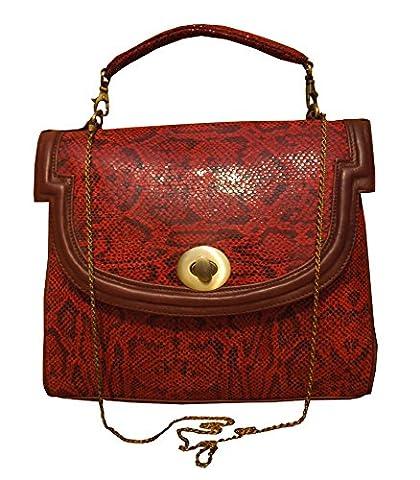 Spice Art Red Python Top Handle Bag