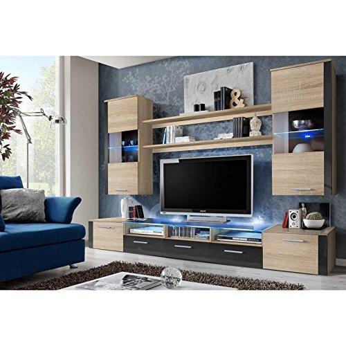 AC-Déco Ensemble Mural - Fresh - 1 Meuble TV - 2 vitrines Verticales - 2 étagères - Chêne et Graphite - LED