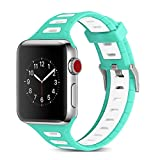 Apple Watch Armband 42mm, Dexnor Apple iWatch Armband Series 1 / 2 / 3 Sportarmband Smart Watch Silikon Strap Replacement Wrist Band Uhrenarmband Ersatzband - Grün + Weiß