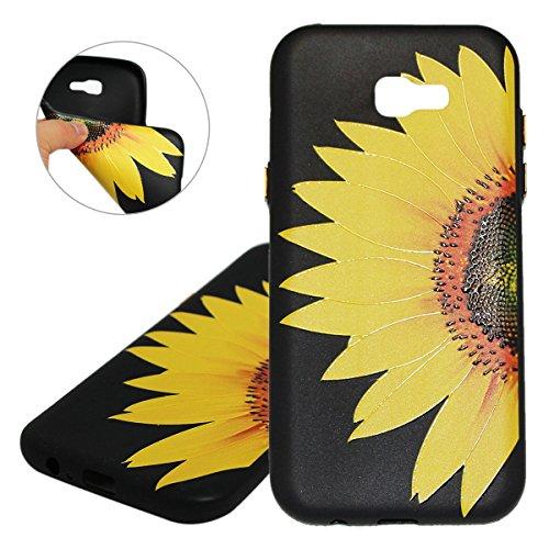 Coque Galaxy A3 2017, Étui Galaxy A3 2017, ISAKEN Coque Samsung Galaxy A3 2017 - Étui Housse Téléphone Étui TPU Silicone Souple Coque Ultra Mince Gel Doux Housse Motif Arrière Case Antichoc Doux Durab tournesol