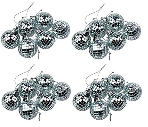 24 Silver Mini Disco Mirror Ball Christmas Tree Bauble Home Party Decoration Gift Fun Room Craft Frozen