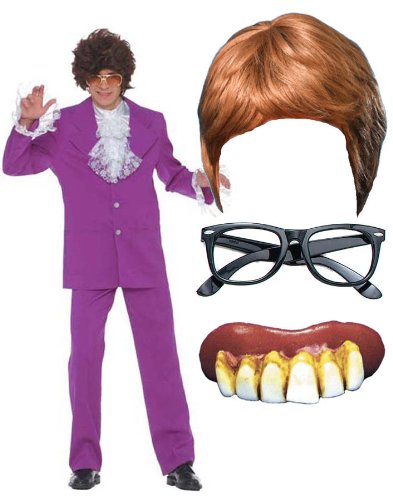 Austin Powers Fancy Dress Costume Kit with Wig and Glasses