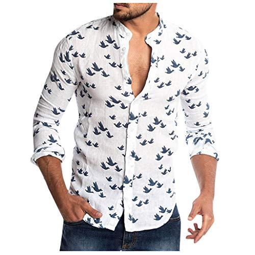 Drucken Regular Fit Hemd (TPulling Herren Herbst Langarm Shirt Lose Freizeit  Herren Hemd Regular Fit Oberteile Freizeithemd aus Drucken Muster Hawaiihemd)