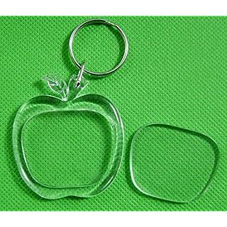AUFODARA 6er Leer Foto-Rahmen Schlüsselanhänger Acryl Transparente f. Bild Werbung (Apfel)