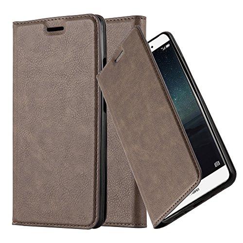 Preisvergleich Produktbild Cadorabo Hülle für Huawei Mate S - Hülle in Kaffee Braun – Handyhülle mit Magnetverschluss,  Standfunktion und Kartenfach - Case Cover Schutzhülle Etui Tasche Book Klapp Style