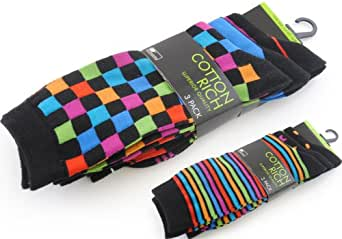 3 Pairs Multicoloured Cotton Rich Suit Socks - Checked Mix - Size 7-11 SK171