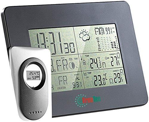 FreeTec Große Wetterstation: Mobile Funk-Wetterstation mit Funk-Uhr & digitalem Außensensor (Wetterstation innen und außen)