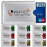 TRAVANDO ® RFID-Schutzhülle Set (10 Stück) für Bankkarte, EC-Karte, Personalausweis, Kreditkarten - 100% Datenschutz durch Kreditkartenhülle / Kartenschutzhülle + 10 Farb-Sticker + GRATIS E-Book