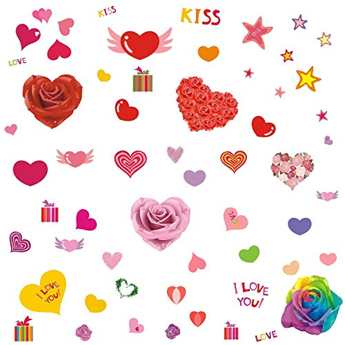 DCTOP Valentine 's Day Fenster klammert Sich an Wand Aufkleber Hochzeit Wand Aufkleber Romantische Party Dekorationen, 58Zählen