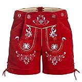 Damen Trachten Lederhose mit Trägern Rot 36