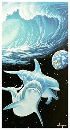 Badetuch, Strandtuch, Saunatuch - Delfine - Motiv: Blaue Delfine - Blue Dolphins - 100 % Baumwolle - Grösse: ca. 150 x 75 cm - ca. 360 Gramm pro Stück schwer - NEU