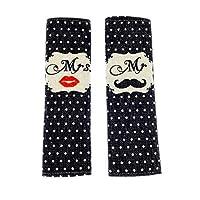 MULOVE Mr and Mrs Design 2 Piece Car Seat Belt Shoulder Pads for Adult, Seat Belt Covers for Valentine