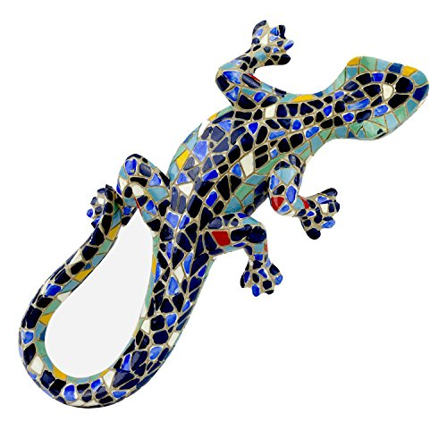 Blue Mosaic Finish Wall Lizard Garden Ornament Outdoor Feature