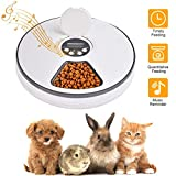 Lacyie Automatic Pet Feeder with Digital Timer, Automatic Pet Feeder Food Dispenser with 6 Meals Suitable Wet & Dry Food Voice Recording for Cats, Dogs, Rabbits and Other Pets