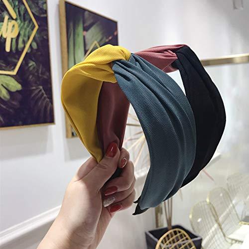 Homeofying Breites Band Haarband Stirnband Mode Farblich Passende Kreuz Knoten Haarband Stirnband Frauen Breites Tuch Kopfbedeckungen Pink + Blau - Tücher Und Frauen-packungen