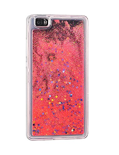 "FUN CASE für Apple iPhone 6 4,7"" Apple iPhone 6S Handy Cover Hülle Case Glitzer Sterne Flüssig Sternenstaub Hard Case (silber) korallenrot orange"