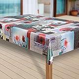 laro Wachstuch-Tischdecke Wachstischdecke Tischwäsche Abwaschbar Meterware Wachstuchdecke G11, Größe:110x140 cm, Muster:Blume rot-grau