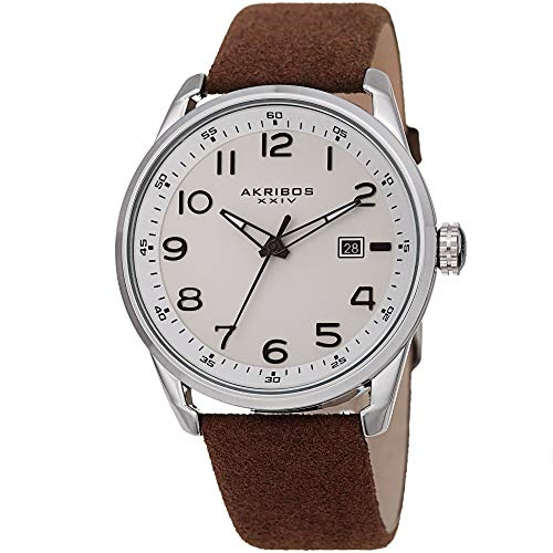Akribos XXIV Men's Leather Watch – Casual Grey Suede Designer Wristwatch – Classic Round Analog Quartz - AK1029GY