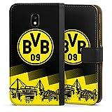 DeinDesign Samsung Galaxy J3 2017 Tasche Leder Flip Case Hülle BVB Logo Borussia Dortmund