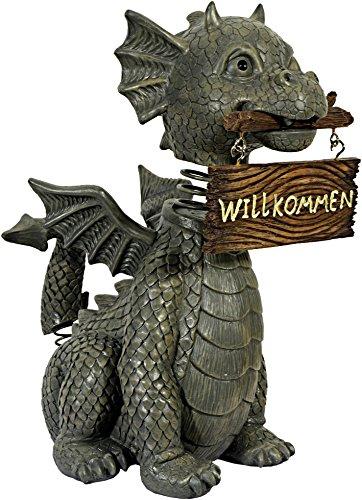 Gartendrache mit Wackelkopf Willkommen Drache Figur Gargoyle Garten Gargoyle Figur