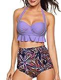 Angerella Halter Bathing Suits for Women Retro Two Piece Swimsuits Push up Bikini,Purple,XL