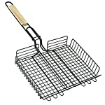 Grill meats or veggies with this BBQ Grill Basket. Chrome Plated Stainless Steel wire body heats up fast and gives excellent non-stick performance. Handle with Sliding Wooden Bar makes safe handling. A grill grate with lid and an easy to use locking ...
