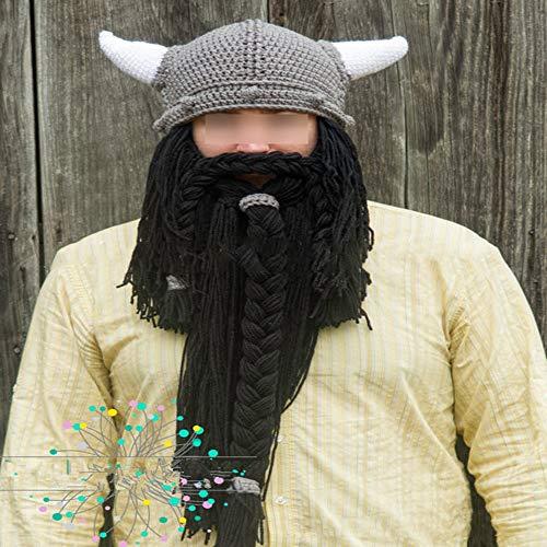 Strickmütze Unisex Winter Warm Lustige Mütze Weiche Viking Scorpion Bart Schnurrbart Hörner Hut Für Kostüm Weihnachten Cosplay Party Kostüme (Farbe : Black Beard) ()