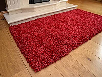 Soft Touch Shaggy Red Thick Luxurious Soft 5cm Dense Pile Rug. Available in 7 Sizes - cheap UK light shop.