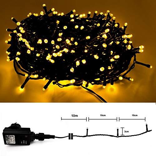 LED Lichterkette mit 6 Stunden Timer für Innen & Außen - 300 LED Warmweiss - grünes Kabel - 10m...