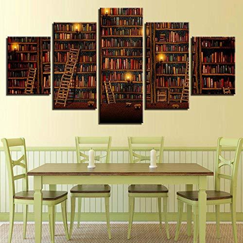 NHFGJ Decorazione Moderna della Parete di Arte della Stanza della Casa della Stampa della Pittura della Tela Senza Cornice Stampe e Quadri su Tela libreria 150x80 cm