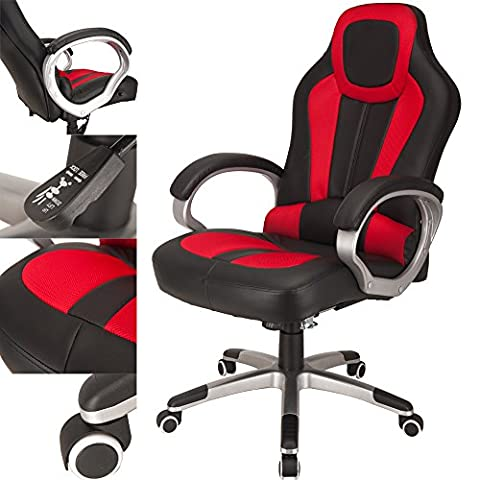 RayGar Red Deluxe Gaming Sports Racing Style Chair Computer Desk Reclining Office Chair