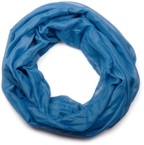 styleBREAKER leichter unifarbener Loop Schlauchschal, seidig / Unisex 01016076, Blau