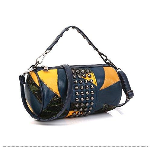 WTUS Damen 2017 Neue Handtasche Schafsfell Handgelenktasche Zylindrische Schulter Umhängetasche Blau