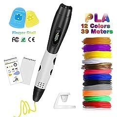 Idea Regalo - Penna 3D con Schermo LCD, Fede Penna da Stampa 3D con 12 Filamenti PLA Supplementari di 1,75mm e di Colori Diversi, Ogni di 3,3 Metri e Totale di 39,6 Metri, Penna Stampata 3D è un Regalo Perfetto per Bambini, Adulti