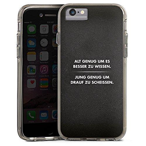 Apple iPhone 6s Bumper Hülle Bumper Case Glitzer Hülle Sayings Phrases Sprüche Bumper Case transparent grau