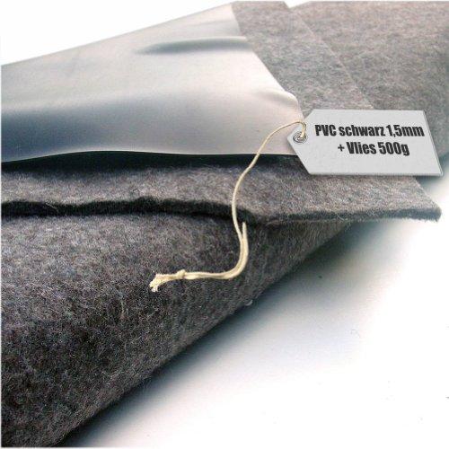 Teichfolie PVC 1,5mm schwarz in 10m x 8m mit Vlies 500g/qm