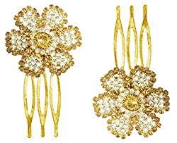 AccessHer Premium Hair Jewellery Golden Flower Small Size French Combs Jooda For Girls And Women