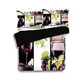 Ensemble housse de couette noir, vin, collage de vin avec bouteille en baril de verre à vin raisin goût gourmet boisson décorative, Bourgogne vert clair blanc, ensemble de literie 3 pièces décoratif d