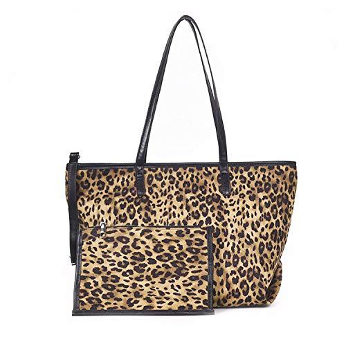 NOTAG Bolsos Mujer, Bolso Bandolera de Leopardo Bolsos de Mano de Cuero PU Bolso Totes Shopper (Caqui)