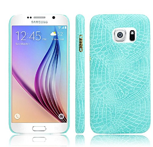 Coque Galaxy S6, Vanki® Vintage Series Crocodile texture en cuir souple Coque rigide Cover Case pour Samsung Galaxy S6 Vert
