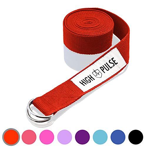 High Pulse® Yogagurt (300 x 3,8 cm) - Hochwertiger Yoga Gurt mit Verschluss als praktisches Hilfsmittel beim Yoga oder Pilates - 100% Baumwolle (rot)