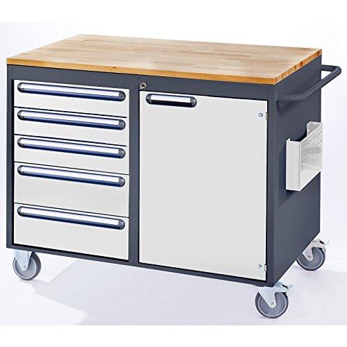 RAU Werkbank, fahrbar – 5 Schubladen, 1 Tür, Holzarbeitsfläche, lichtgrau / enzianblau – Fahrbare Werkbänke Werkbänke, fahrbar Fahrbare Werkbänke Werkbänke, fahrbar - 2