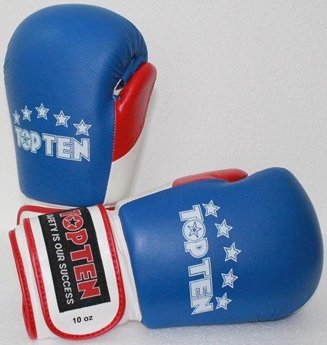 TOP TEN Boxhandschuh ''FIGHT'' 10 Oz ''Tricolor'' blau/rot/weiß (Top-10-boxhandschuhe)