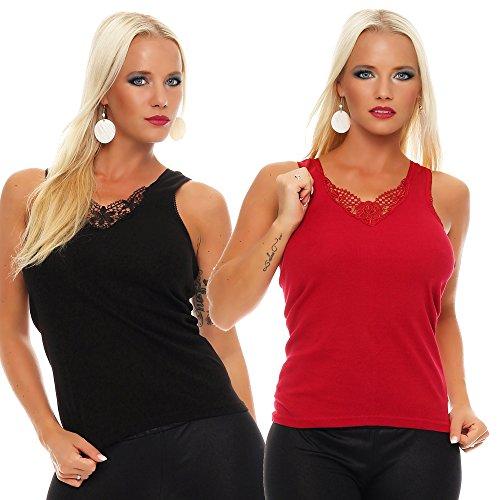 2er Pack Damen Unterwäsche mit Spitze (Unterhemd, Träger-Top, Shirt) Nr. 430 Schwarz-Rot