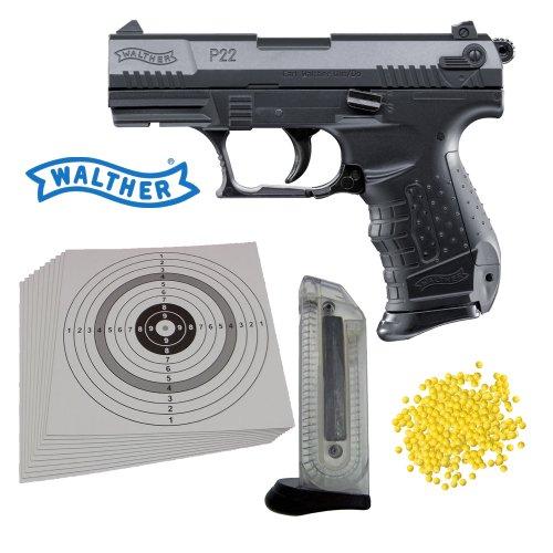 SET P14: Soft-Air Walther P22 Pistole schwarz (2.5179) - 0,5 Joule + Ersatzmagazin + 2000 ShoXx.® Softair BB Kaliber 6 mm / 0,12 Gramm + 25 ShoXx.® shoot-club Zielscheiben mit 250 g/m² zu Walther Shoxx Shoot-club
