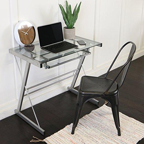 Walker Edison Furniture Metal Solo Computer Desk, Glass, Silver, 33-Inch