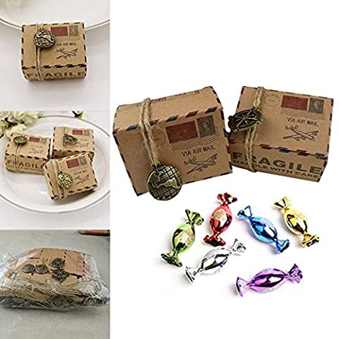 Kicode Boite de bonbons Coffret cadeau Pack Voyage Papier kraft marron Conception Air Mail 50Pcs