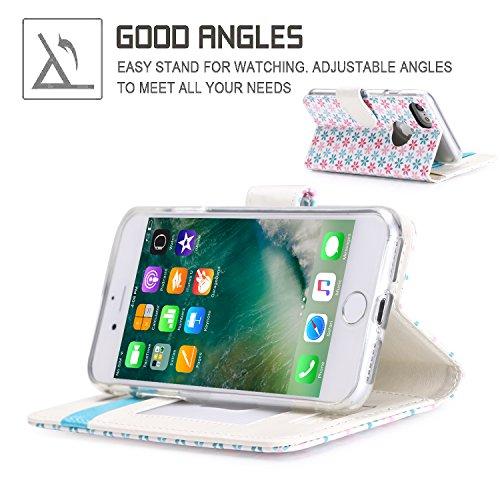 iPhone 8 Hülle , iPhone 7 Hülle, Fyy® [RFID Blockierender Geldbeutel] 100% handgenähter Geldbeutel mit Kartenhaltern für Apple iPhone 8 / 7 , Gold C-Pattern-65