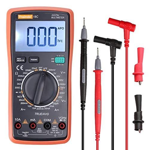 SHIJING Digitales Multimeter TRMS 6000 mit automatischer Bereichseinstellung und Krokodilklemmen-Prüfleitungen AC/DC-Spannung/Konto-NCV-Ampere-Ohm-Diode,2